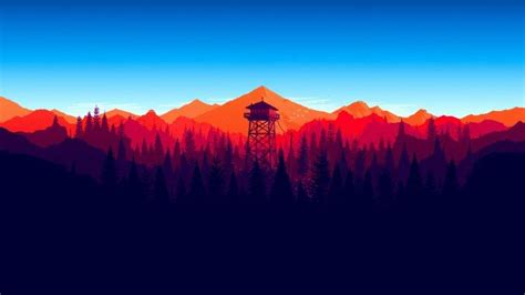 mountains minimalism forest firewatch wallpapers hd