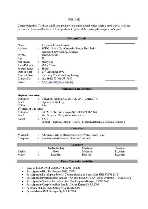 resume sample  fresh graduate popular pin  calendar