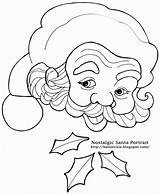 Santa Claus Christmas Coloring Countdown Pages Beard Face Calendar Drawing Nostalgic Pencil Drawings Printable Clipart Portrait Template Father Line Cliparts sketch template