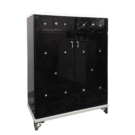 Black And White Sideboard by Delano Sideboard In Black And White Gloss With Diamante