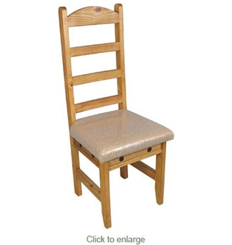 mexican pine rustic dining chair with cushion seat