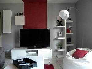 deco salon gris blanc rouge With deco salon gris blanc