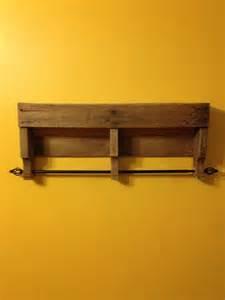 rustic pallet bathroom shelf and towel rack pallet