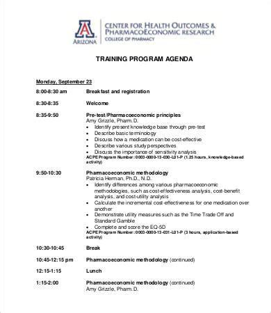 program agenda template   word  documents
