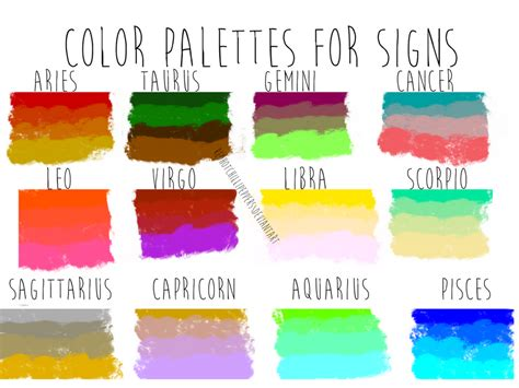 Color Palettes For Zodiac Signs By Redhotchillipeppers On