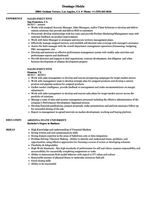 Sales Executive Resume by Sales Executive Resume Sles Velvet