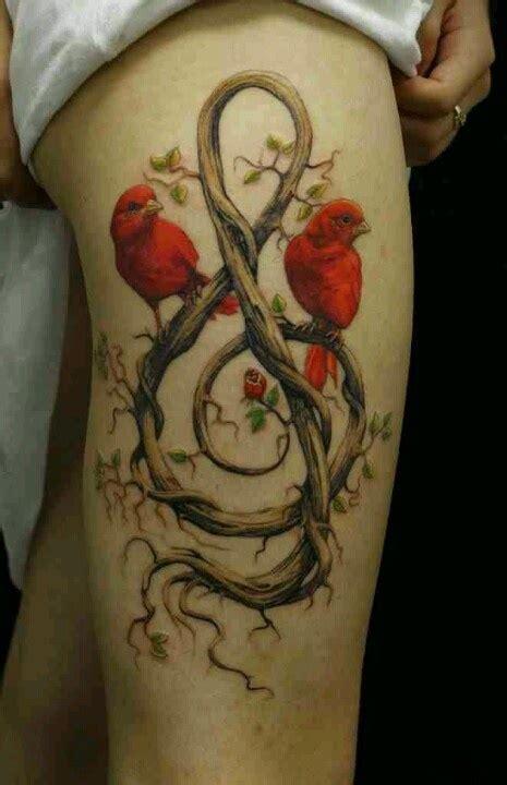 red bird  note tattoo rose vines nature ink thigh piece leg  thigh candy pinterest