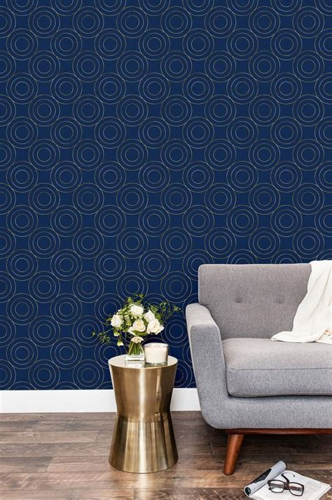 gold  navy blue geometric removable wallpaper peel