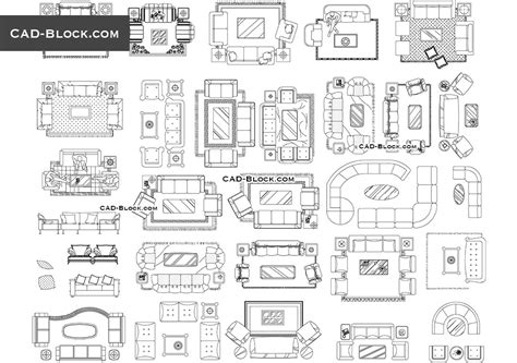 living room furniture cad blocks