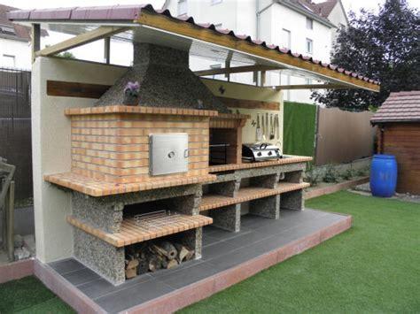 plan de travail cuisine a faire soi meme four a et barbecue en brique avec évier av358f