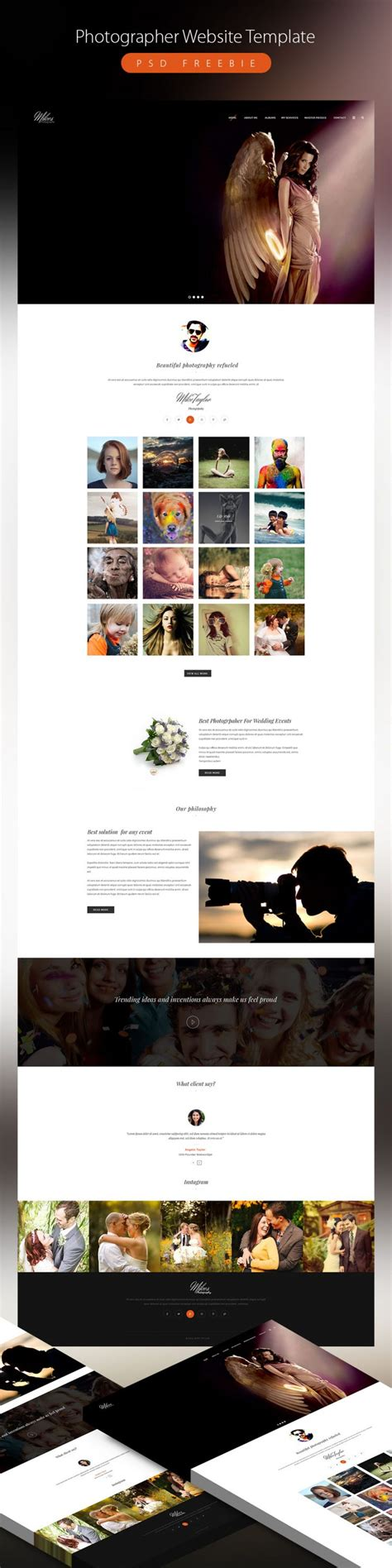 best website templates for photographers clean photographer website template psd freebie psd