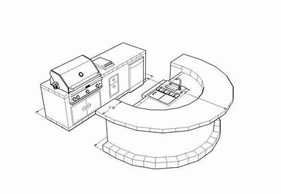 Drawing Grill Barbecue Bbq Bar Sketch Island