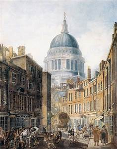 St Pauls Cathedral from St Martins le Grand Painting ...
