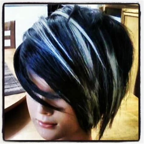 work  blue black coloring  platinum blonde