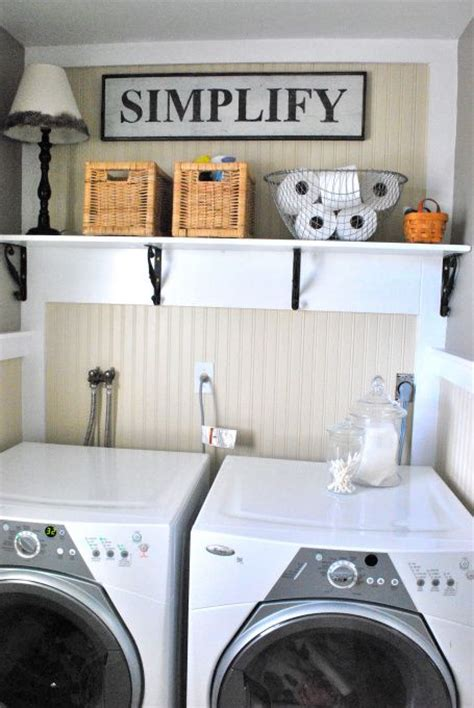 wire shelf washer and dryer cottage farmhouse inspired half bath laundry vintage