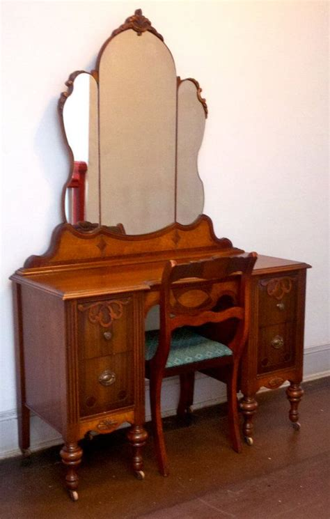 Antique Vanity Chairs by Handcarved 1930s Antique Vanity Chair Solid Oak By