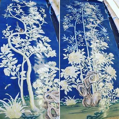 Gracie Panels Painted Chinoiserie Hand Lacquered Handpainted