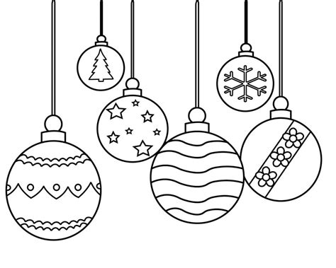 Christmas Ornament Coloring Pages Printable, Simple, For