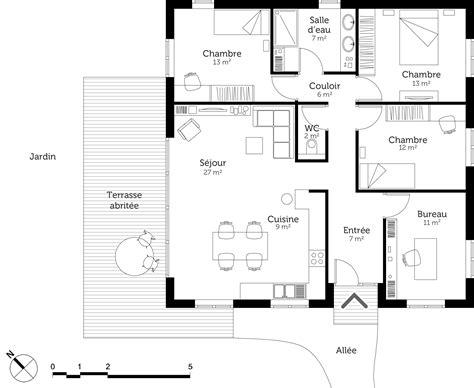 Plan Maison Moderne 3 Chambres by Plan Maison Moderne Avec 3 Chambres Ooreka