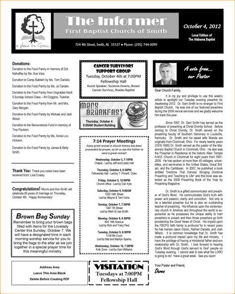 church newsletter format   church newsletter
