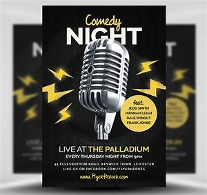 open mic comedy night flyer template flyerheroes With comedy night poster template
