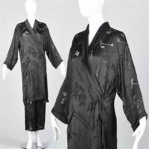 s sonia rykiel black silk burnout asian inspired kimono With robe sonia rykiel