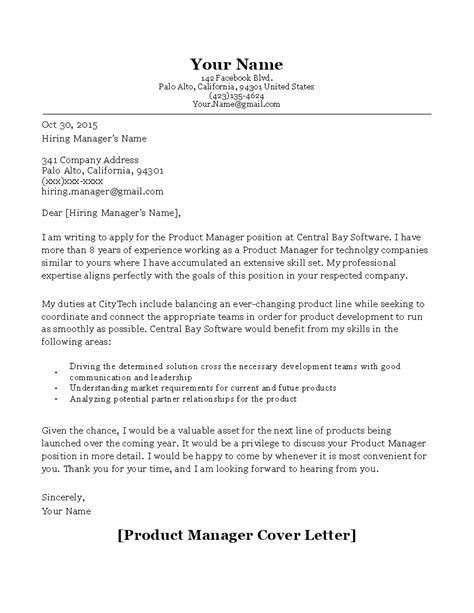 Product Manager Cover Letter Sample | Templates at