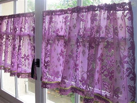 Aubergine Lace Cafe Curtains, Purple Kitchen Curtains, French Lace Curtains, Country Cottage Heavy Duty Clear Plastic Curtains Grey White Chevron How To Hang Curtain Scarves Used Theatre For Sale Kitchen Door Waverly Cafe With Tie Back Create Shower