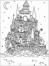 Coloring Architecture Adult Castle Pages Fantasy sketch template