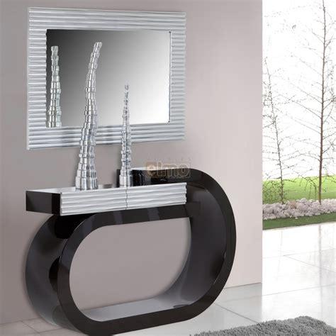 photo cuisine grise et console design moderne laquée bicolore noir et argent 1 tiroir