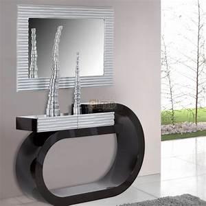 Console Entrée Design : console design moderne laqu e bicolore noir et argent 1 tiroir ~ Premium-room.com Idées de Décoration
