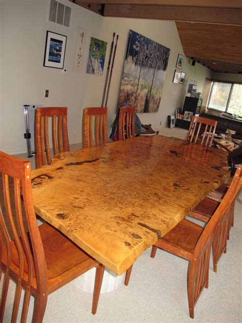 handmade english white oak burl dining table  david naso