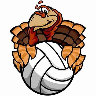 Turkey Volleyball Thanksgiving Vector Cartoon Clip Happy