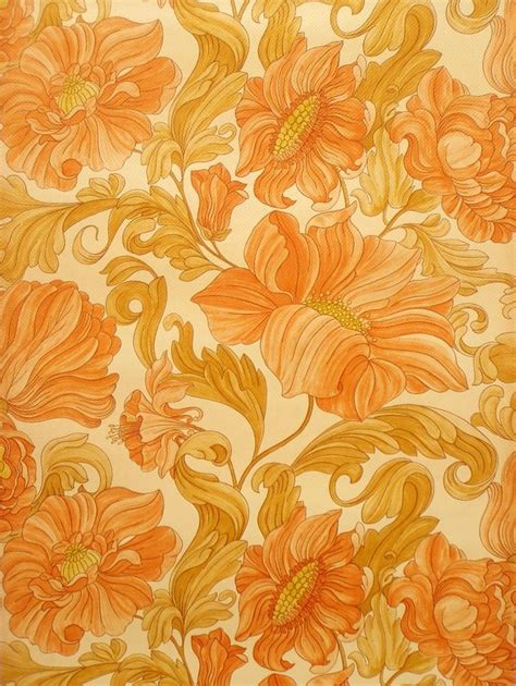 seventies retro wallpaper with large floral design