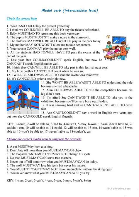 modal verb intermediate level worksheet  esl