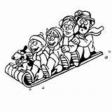 Coloring Pages Winter Sledding Sports Printable Toboggan Playing Fun Kookerkids Print Template Credit Larger sketch template