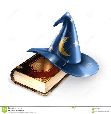 wizard hat and old book royalty free stock photos image