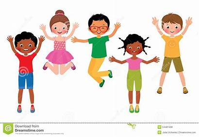 Background Clipart Child Children Happy Jumping Vector