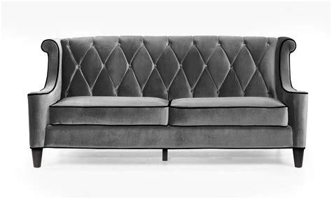 gray velvet sofa armen living barrister sofa gray velvet black piping al lc8443gray at homelement com