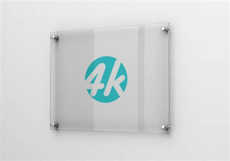 ✓ free for commercial use ✓ high quality images. Photorealistic glass signage logo mockup | Premium PSD File