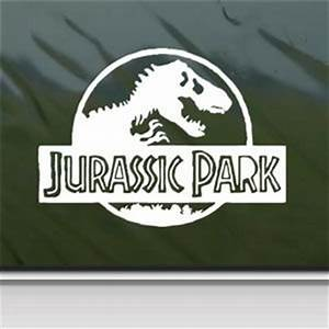 Jurassic park white sticker decal t rex dinosaur for Best 20 jurassic park wall decal
