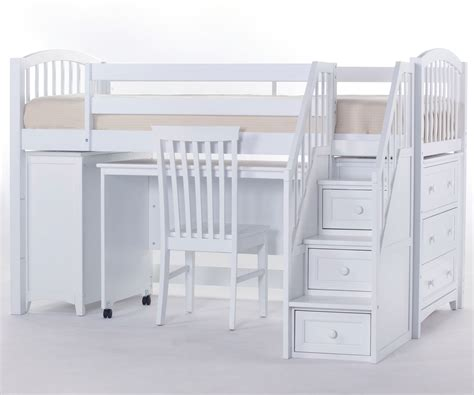 White Low Loft Bed With Desk by Bedroom Bunk Beds With Stairs And Desk For Rustic