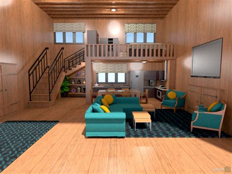 Home Design 5d : Loft W/stairs, Beams And Built-ins