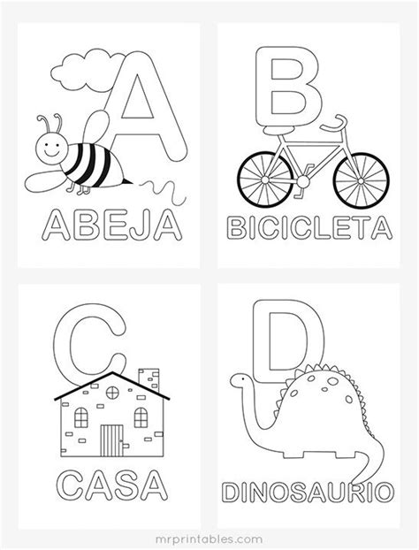 spanish alphabet coloring pages  printables