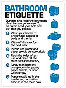 printable bathroom etiquette signs bathroom etiquette 12 quot x 16 quot poster office