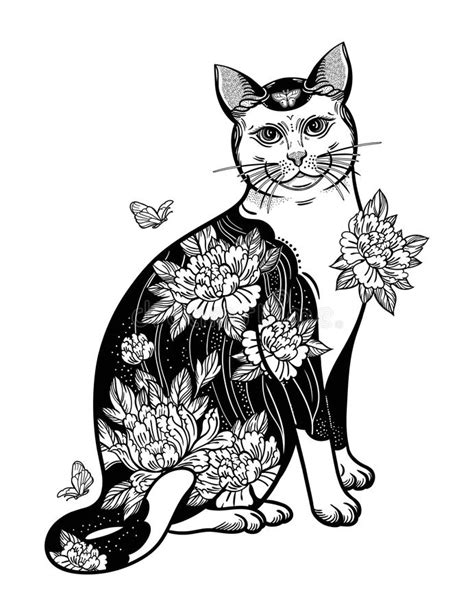 Folklore Cat With Flowers And Butterfly Tattoo. Stock Vector - Illustration of background