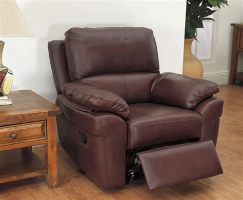 chestnut brown genuine leather recliner arm chair