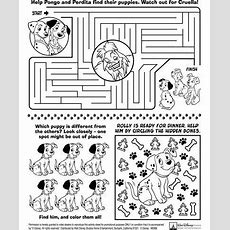 101 Dalmations Activity Sheet  Diy Kids' Travel Activity Binder  Pinterest Activities