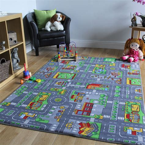 childrens rugs town road map city rug play village mat