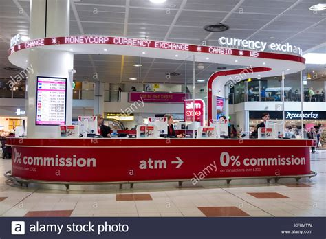 gatwick airport bureau de change exchange airport stock photos exchange